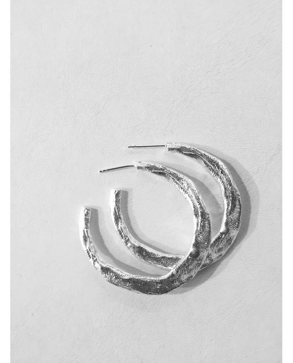 Fingerprint hoop earrings-Siyah Beyaz Aşk