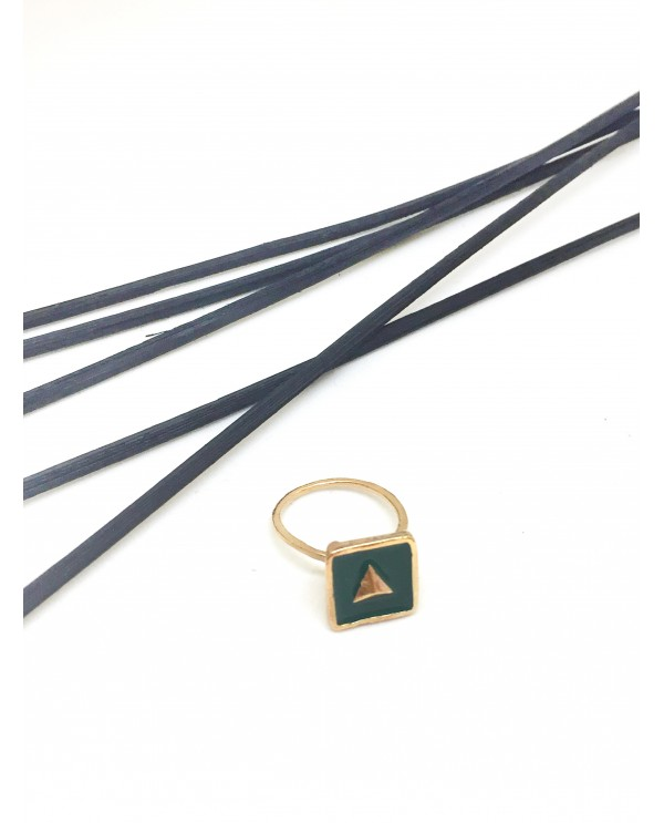 Anatolian Triangle Green Enamel Ring