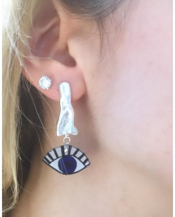Wavy Evil Eye Earrings-Silver