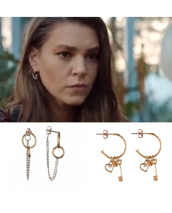 İstanbul Bride-Eternity Earrings with chain
