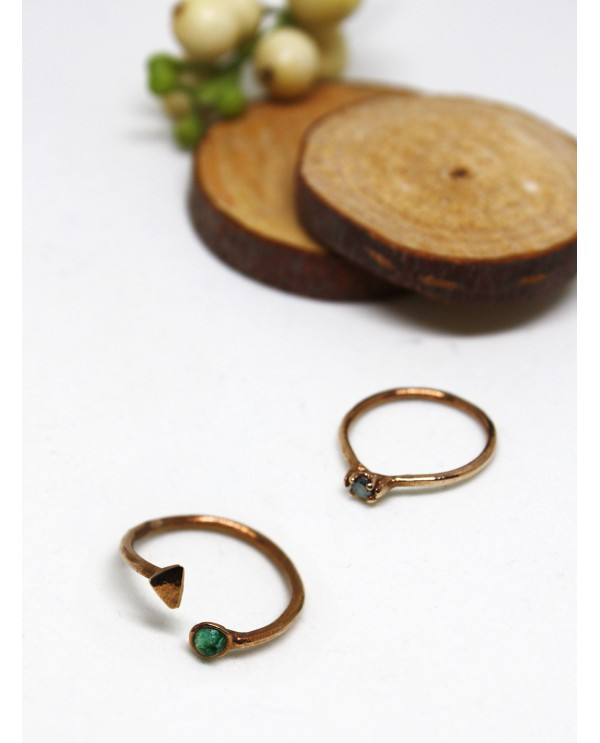 Emerald Triangle Gold Ring