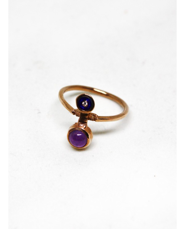 Gold Galaxy Amethyst Ring