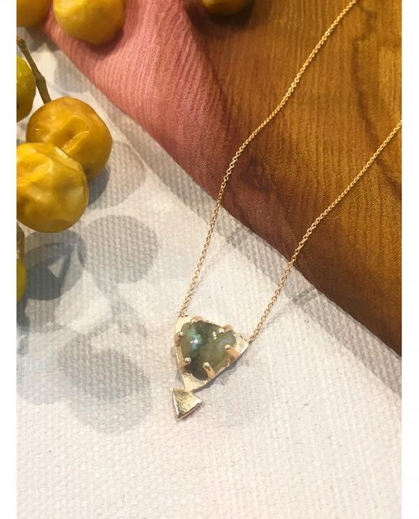 Labradorite Triangle Necklace-Gold Galaxy
