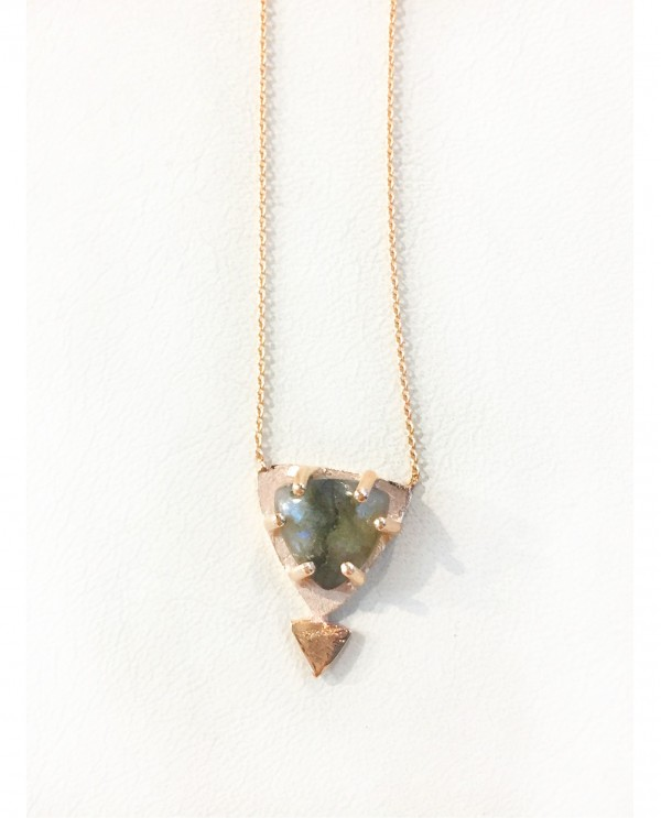 Labradorite Triangle Necklace-Gold Galaxy