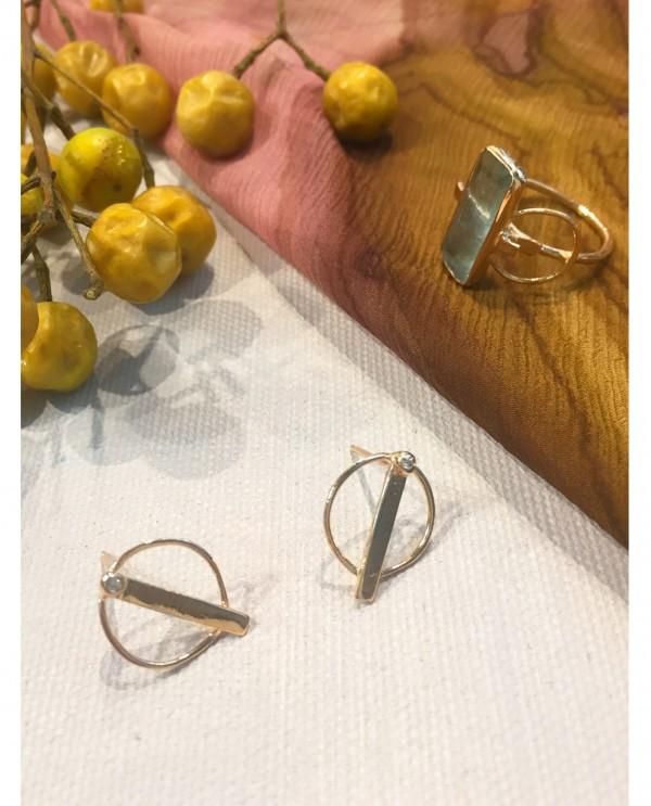 Gold Galaxy Circle Earrings