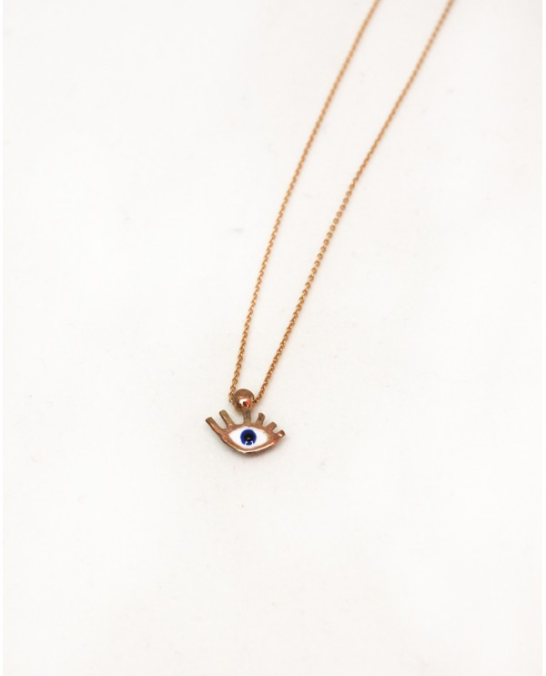 Tinny Evil Eye Gold Necklace