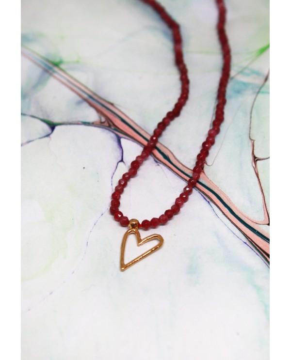 Wire Heart Quartz Necklace