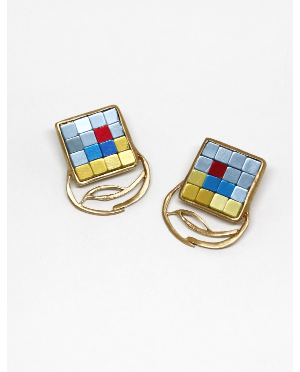 Byzantine Big Square Mosaic Earrings