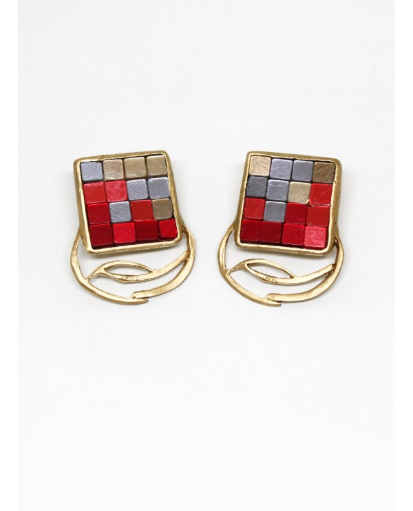 Byzantine Big Square Mosaic Earrings-Red