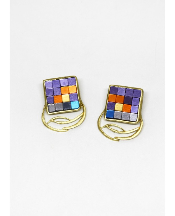 Byzantine Big Square Mosaic Earrings-Purple