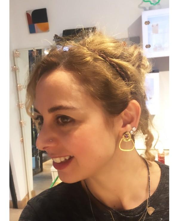 Swarovski Rose Earrings-Bronze