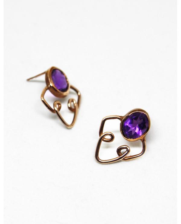 Ion Amethyst Gold Earrings