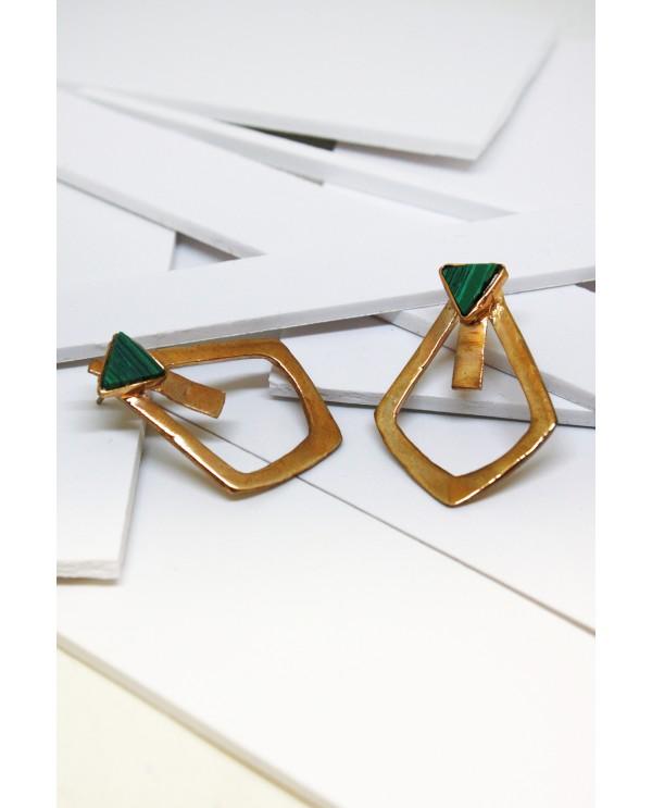 Triangle Malahite Earrings