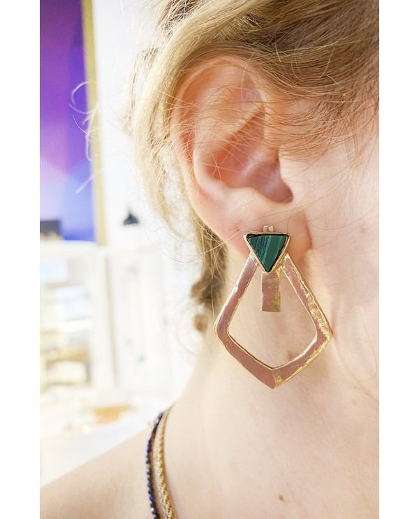 Triangle Malahite Earrings