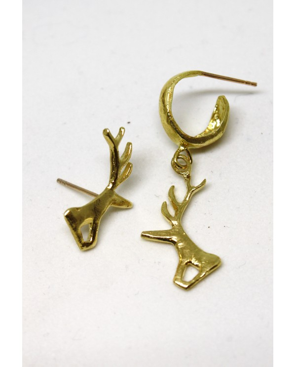 Hittite Hoop Deer Earrings