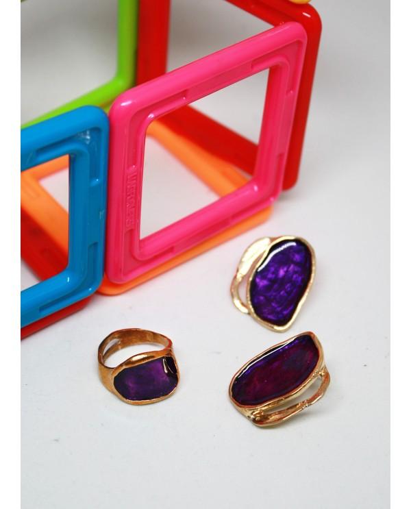 Hattuşa Earrings, Purple Enamel