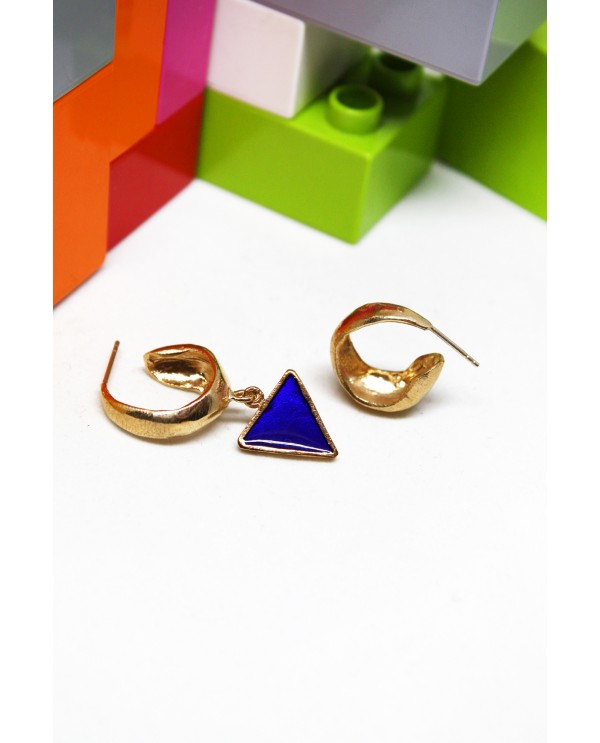 Blue Triangle Enamel Hoops