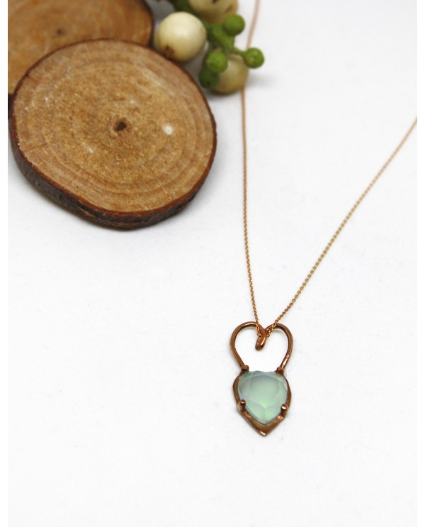 Chalcedony Heart Necklace-Gold