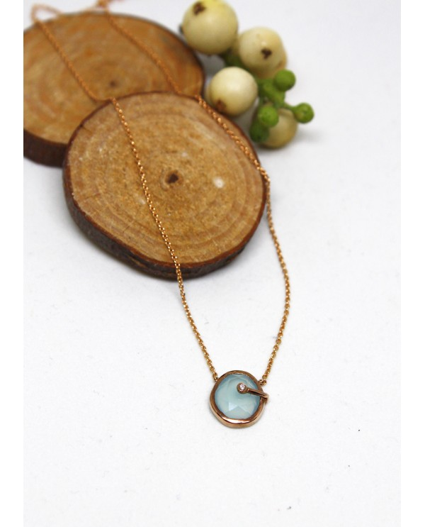 Banded Chalcedony Gold Necklace