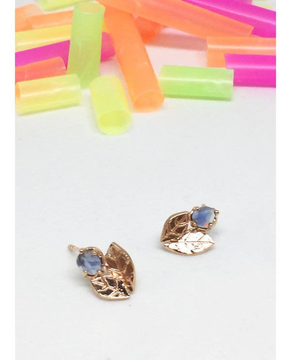 Jellybone Sapphire Leaf Earrings