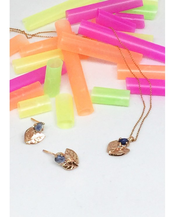 Sapphire Leaf Gold Necklace