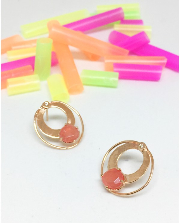 Rodocrosit Circle Gold Earrings-Jellybon