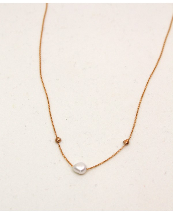 Double Ball Gold Necklace With Pearl