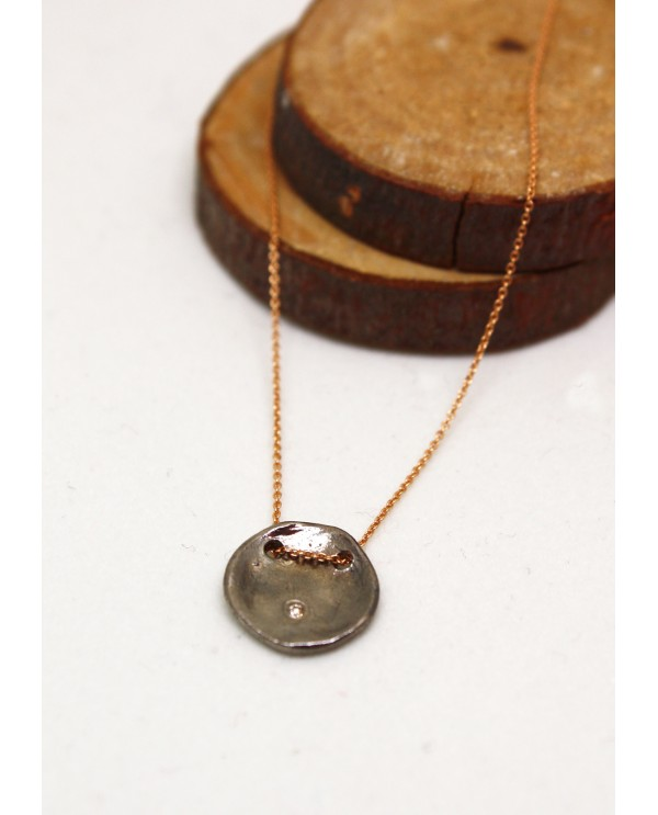 Rhodium Plated Gold Round Necklace