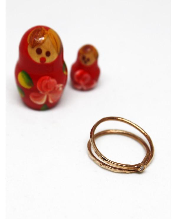 Spiral Diamond Gold Ring