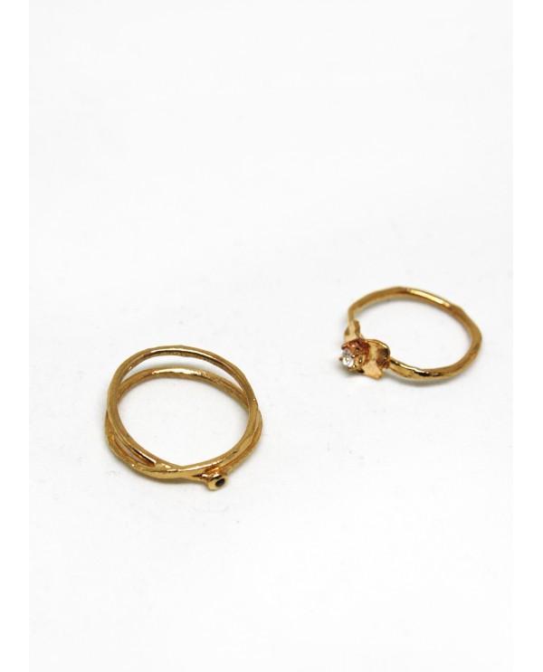 Wire Spiral Black Diamond-Bronze Ring