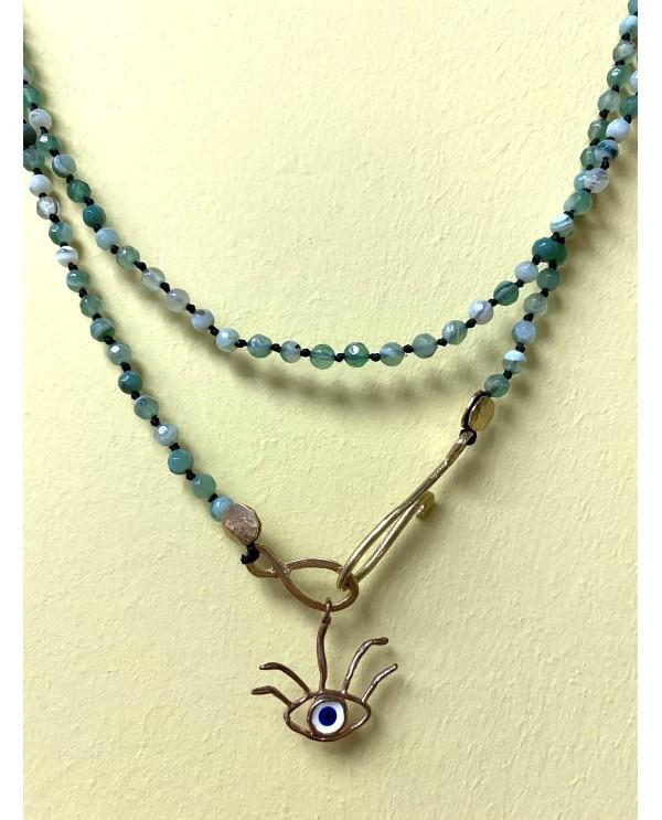 Eye with eye lash Onix Necklace