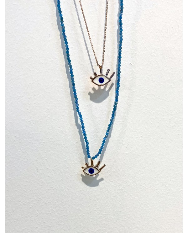 Small Evil Eye Apatite Necklace
