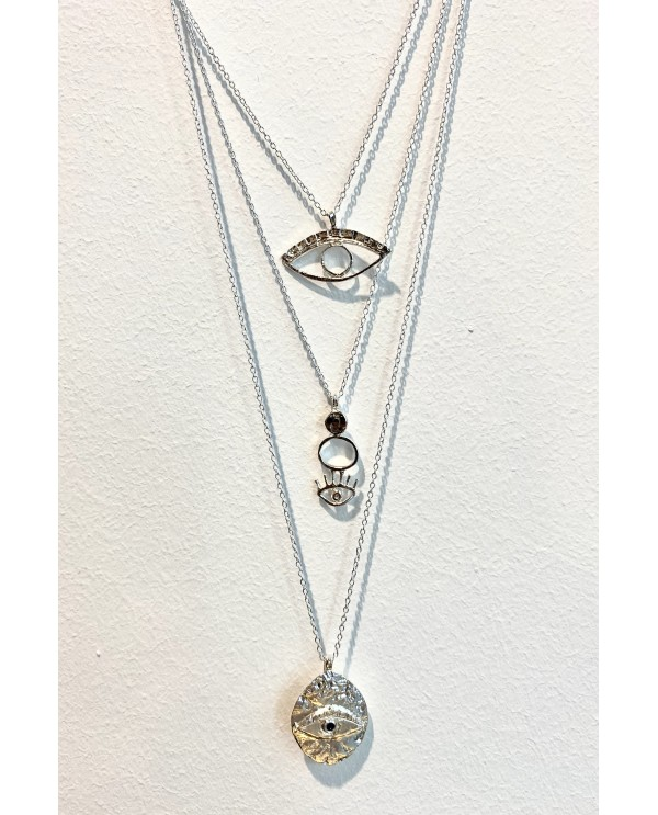 Cleopatra Eye Silver Necklace