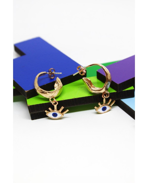Small evil eye hoops