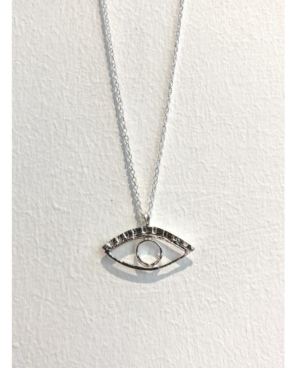 Cleopatra Eye Silver Necklace