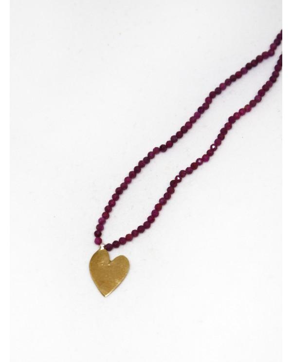 Heart Strawberry Quartz Necklace