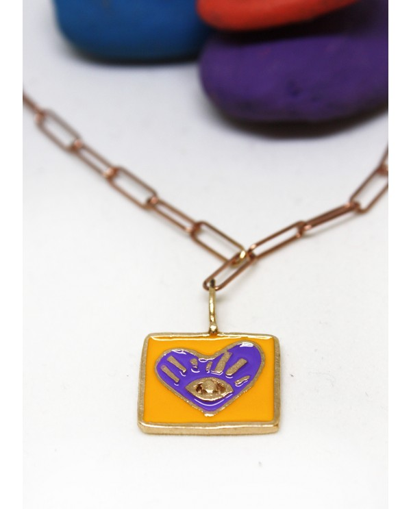 My Heart Square Enamel Bronze Necklace