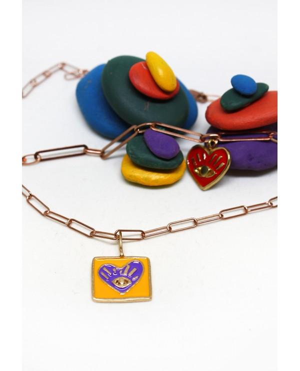 My Heart Square Enamel Bronze Necklace