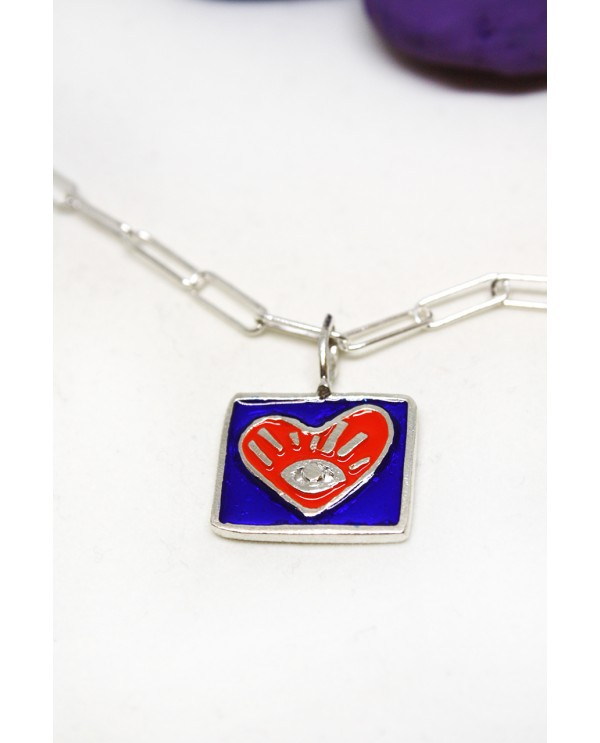 My Heart Enamel Square Silver Necklace