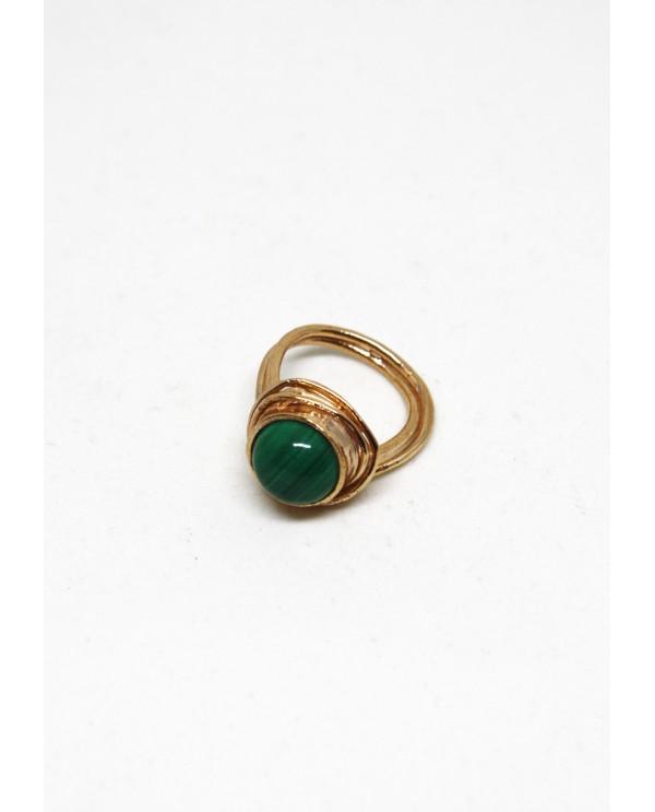 Saturn Malahite Bronze Ring