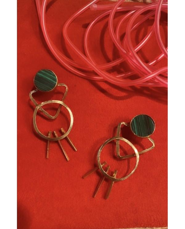 Man Malachite Earring