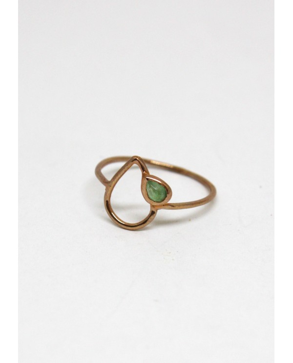 Drop Emerald Gold Ring