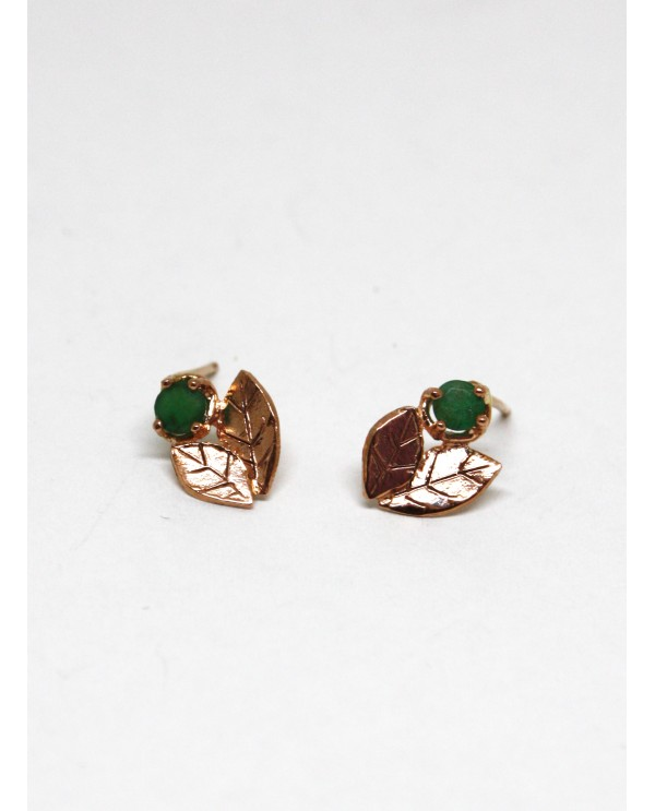 Emerald Leaf Gold Earring