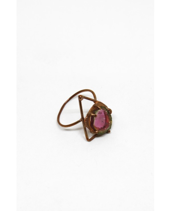 Watermelon Tourmaline Gold Ring