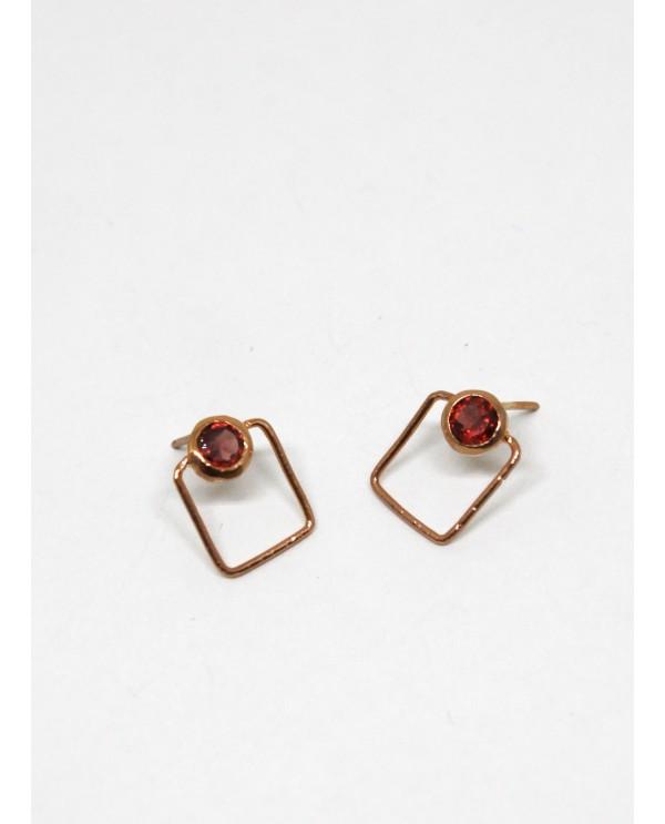 Josephine Garnet Square Earring
