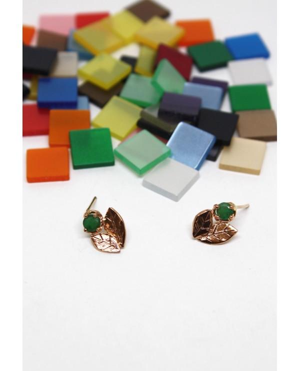 Emerald Leaf Gold Earring