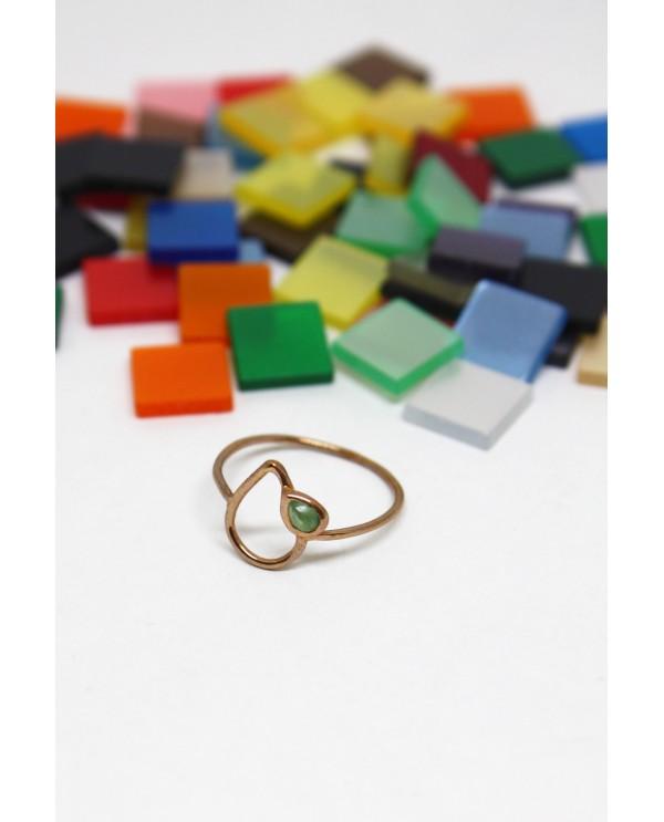 Drop Emerald Gold Ring