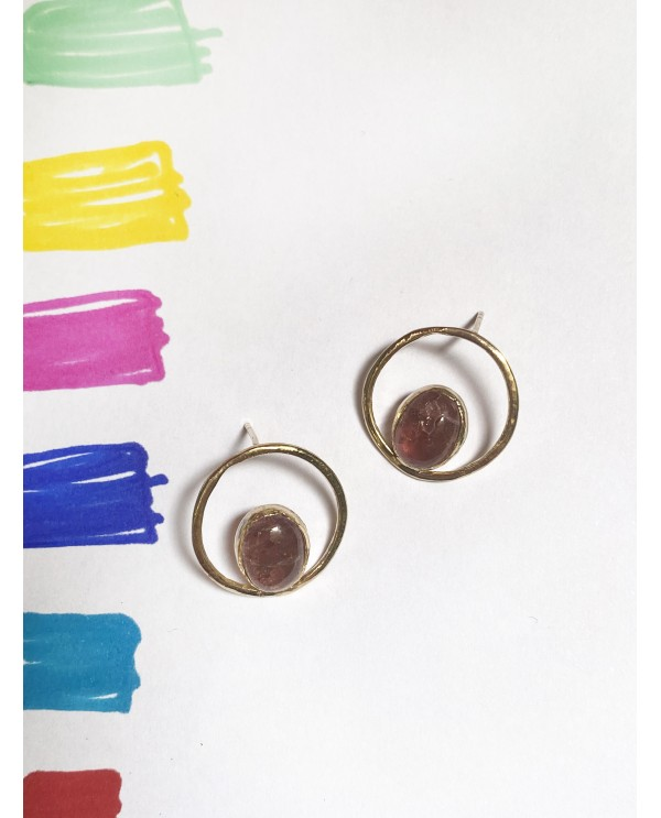 Circle Tourmaline Earrings