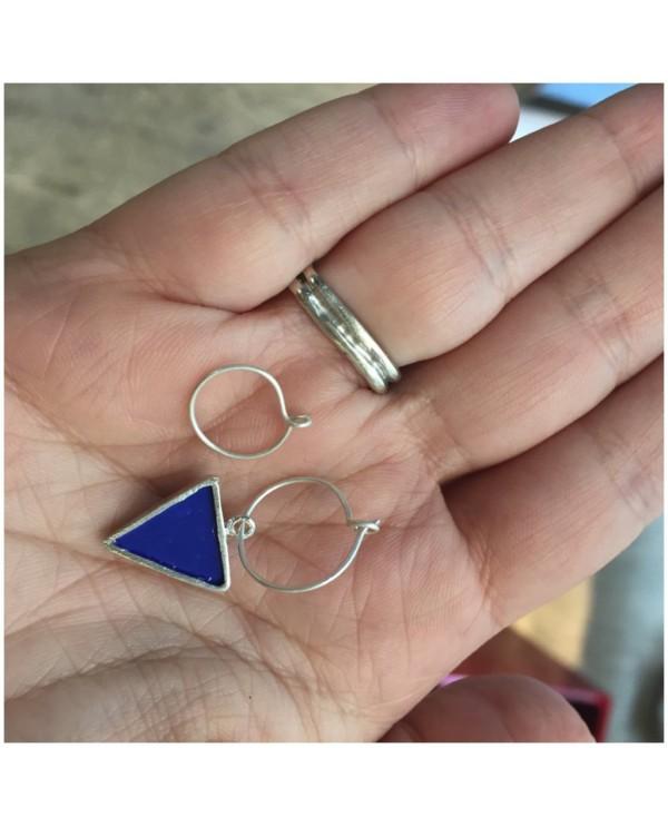 Mavi Üçgen Halkalı Küpe (Sühan Küpe)