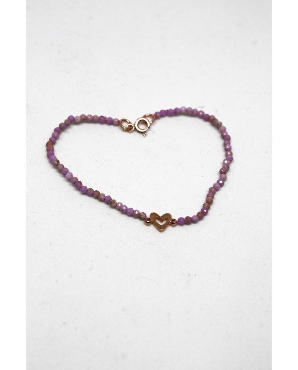 Gold Heart Bracelet With Rhodochrosite